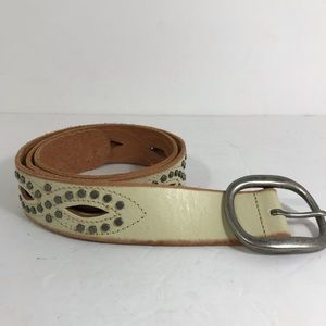 Fossil cream color leather studded cut out belt M